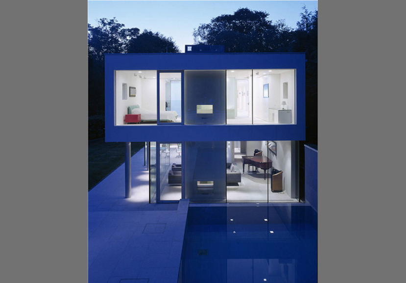 Esher House exterior shot at night